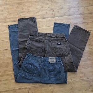 Men's Work Pants (Iron Co & Dickies) 34 & 32